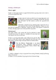 English Worksheet: What�s rugby?