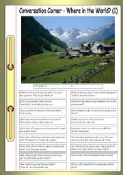 English Worksheet: Conversation Corner: Where in the World? (1) - The mountains