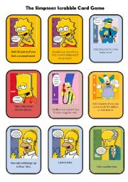 English Worksheet: The Simpsons Scrabble card game - FULLY EDITABLE