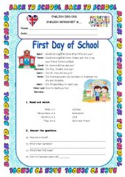 first day of school   personal info worksheet 5th grade