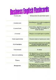 English Worksheet: Business English Flashcards- Careers