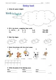 entry test for kids