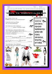 English Worksheet: SONG: THIS IS HALLOWEEN - with Answer Key and youtube link