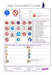 English Worksheet: must or mustn´t