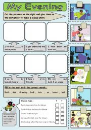 English Worksheets: evening routine