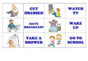 English Worksheet: DAILY ROUTINES - MEMORY GAME