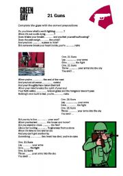English Worksheet: Green Day 21 Guns