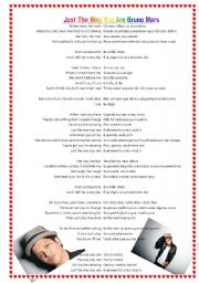 English Worksheets: Just the way you are by Bruno Mars part 2