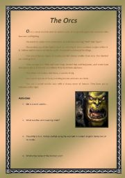 English Worksheets: The Orcs