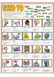 English Worksheets: Used to do (BW+the key included)