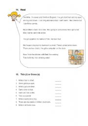 English Worksheets: Reading comprehension about a personal description