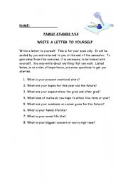 English Worksheets: Write a letter to yourself