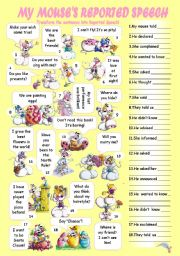 English Worksheet: MY MICE�S REPORTED SPEECH