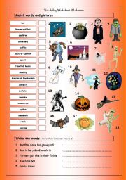 Vocabulary Matching Worksheet: Halloween