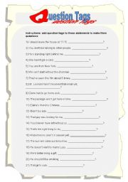 English Worksheets: Question Tags Worksheet