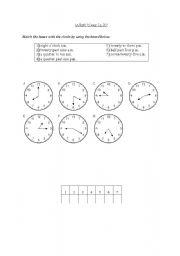 English worksheet: Telling the time (matching)