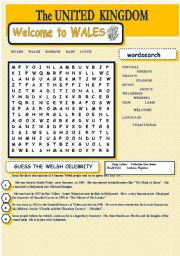 English Worksheet: UNITED KINGDOM - Welcome to Wales - wordsearch
