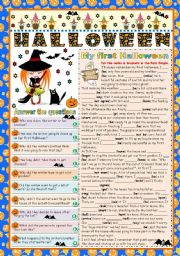 English Worksheet: MY FIRST HALLOWEEN -READING AND COMPREHENSION- FOCUS ON PAST SIMPLE (B&W VERSION+KEY INCLUDED)