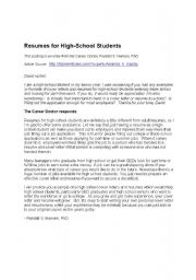 Cover Letters For High School StudentsHigh School Resume | High