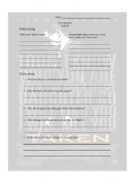 English worksheet: Comprehension - Taken