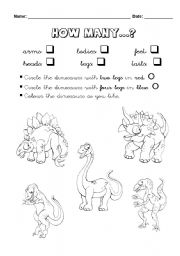English Worksheets: Colour the Dinosaurs - How Many...?