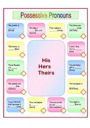 Grammar worksheets > Pronouns > Possessive pronouns