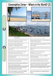 English Worksheet: Conversation Corner: Where in the World? (2) - Tropical beach