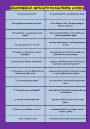 English Worksheet: Reported Speech Matching Game