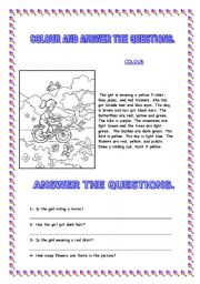 English Worksheets: Paint and answer the questions