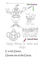 English Worksheets: C is for clown