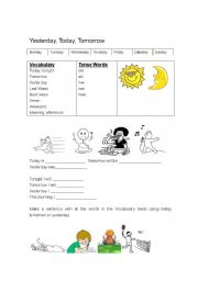 education of yesterday today and tomorrow Help your preschooler understand the definitions of yesterday, today and tomorrow on this drawing worksheet.
