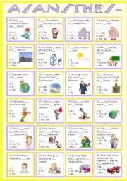 English Worksheet: Articles ( a, an, the and no article )