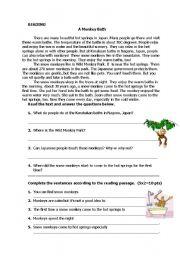 English Worksheets: A Monkey Bath