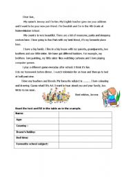 English Worksheet: to a penpal