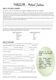 English Worksheet: Thriller - Michael jackson