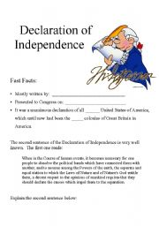 English Worksheets: Declaration of Indepence