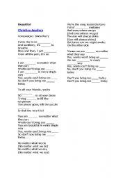 English Worksheets: Christina Aguilera - Beautiful