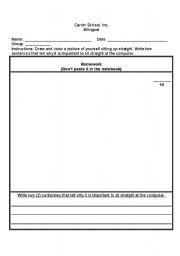 English Worksheets: Sitting Up Straight