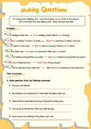 English Worksheet: making questions 1