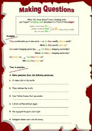 English Worksheet: Making Questions 2