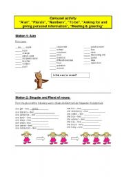 English Worksheets: Study stations for basic grammatical structures