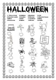 English Worksheet: HALLOWEEN-MATCH  THE VOCABULARY