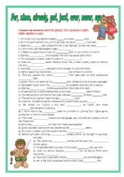 English Worksheet: For, since, already, yet, just, ever, never,ago