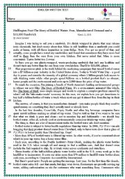 English Worksheet: test about bottled water