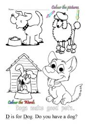 English Worksheet: D is for dog