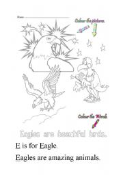 English Worksheets: E is for eagle