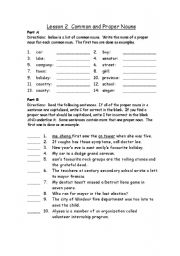 English Worksheet: proper nouns and Common nouns