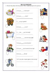 English Worksheet: yes/no questions  2/1