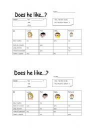 English Worksheets: Does he like...?