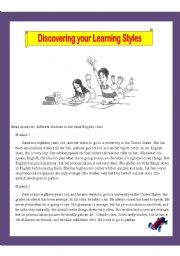 English Worksheet: Discovering your Learning Styles